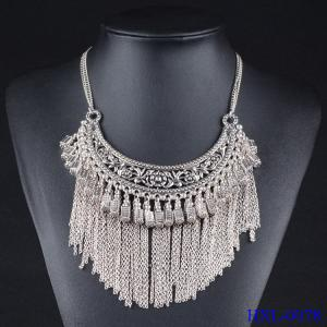 China Women Lady Golden Tone Rhinestone Tassel Pendant Chain Long Necklace on sale