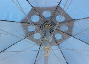 China Custom Logo Round Outdoor Umbrella , Outdoor Sun Umbrella For Garden With Fringe on sale
