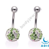 China Surgical Steel Belly Piercing Jewelry With CZ Colorful Gems For Girls on sale