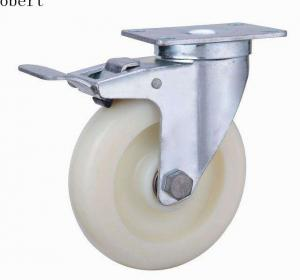 China Total Brake Polyurethane Nylon Roller Wheels With Double Ball Bearings on sale