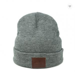 China Grey Female Beanie Hats / Merino Wooly Beanie Hat With Custom Leather Label on sale