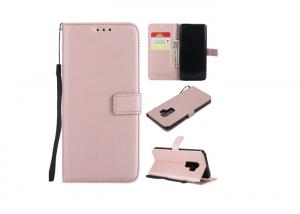 China Pink Blue Comfortable Leather Card Holder Kickstand Protective Folio Flip Phone Cover on sale
