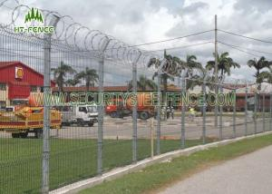 China Square Post PVC Coated Welded Wire Fencing V Bend Rigid Fence For Airport on sale