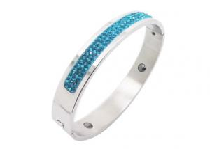 China Turquoise Crystal Pastel Color Enameled Mens Stainless Steel Magnetic Bracelets on sale