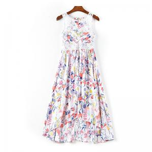 China 20,000 pieces High Quality Women's fashion summer Printed casual Sleeveless dresses on sale