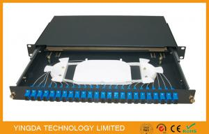 China 1U 48 Fibers 24 Port SC Duplex Black Box Fiber Optic Patch Panel Slding Drawer Type on sale