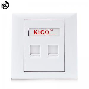 China Kico Hot Sale cat6 cat5 cat7 RJ11 RJ45 2 Port Type 86*86 Networking Faceplate Outlet Socket Keystone Jack Plate Panel Factory on sale