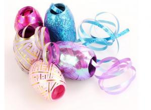 China Colorful And Fashionable Indoor Decoration Christmas Ribbon Egg with PP gold line on sale