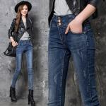 Jeans Slim leg Fashion Elastic Fabric 98%Cotton  2%Spandex Colour fastness more than 4 class EURO Size High Waist Design