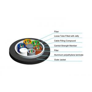 China Duct / Aerial Armored Optical Fiber Cable Black Sheath Stranded Loose Tube on sale