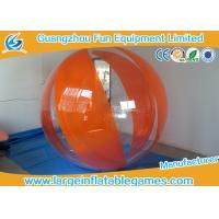 Orange Polyether TPU Inflatable Water Walking Ball , Big Inflatable Ball For Human