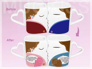 China wedding gift item promiss mug heart shaped lovers mug custom color changing mug on sale