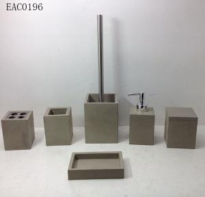 China Waterproof  Light Grey Concrete Bathroom Accessories sets Complete 6 Pcs For Bath Decor on sale