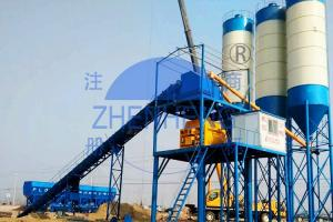China Conveying Belt Type HZS60 Concrete Batching Plant With Automatic PLC Control System on sale