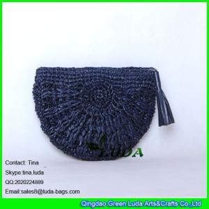 China LUDA navy blue raffia handbags fashion handmade raffia straw clutch bag on sale