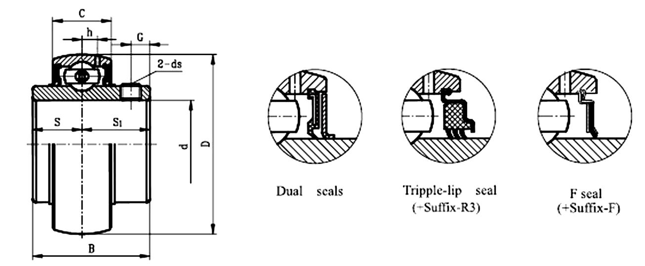 NSK UCX08 D1 Insert Bearing Spherical Outside Surface Ball