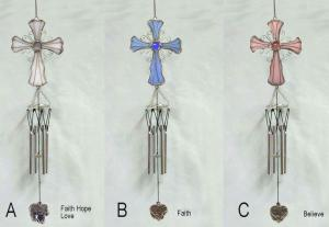 China Wind chimes in cross sharp with love faith believe Decorative Garden Stakes on sale