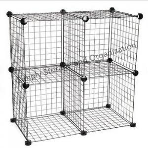 China DIY Grid Wire Modular Cube Cage Versatile Shelving Easy Assemble Custom Color on sale