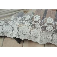 China Soft Graceful White Nylon Lace Trim , Floral Wide Mesh Tulle Lace Trim By The Yard on sale