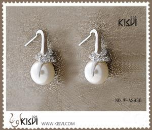 China 2012 hot selling 925 sterling silver gemstone earrings with imitated pearl W-AS936 on sale