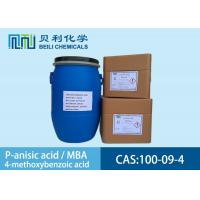 White crystalline powder 	P-anisic Acid 100-09-4 99.0% purity with stock