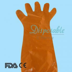 China Disposable arm length pe glove on sale