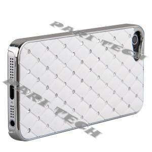 China iPhone 5 Case White Metal Chrome Diamond Bling Back Skin Case Cover for Apple iPhone 5 on sale