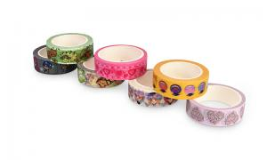 China Solid Color Washi Paper Tape Rubber Adhesive Easily Peels Off Fit Decoration on sale