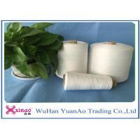 High Strength Raw White 100 Spun Polyester Yarn Z Twist For Knitting , 17cm Cone