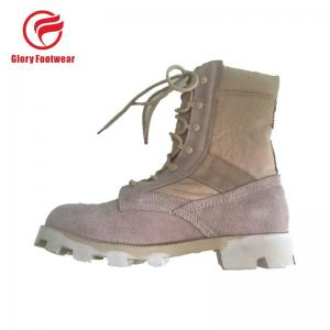 Quality 8 Inch High Heel Cow Suede Combat Boots Mens Sand Color With Cotton Fabric for sale