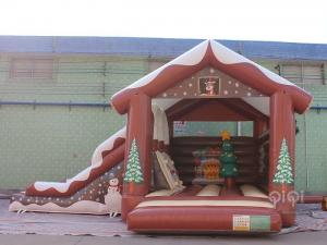 China Christmas Inflatables Decorations Bounce House Slide Combo With Slide During Winter on sale