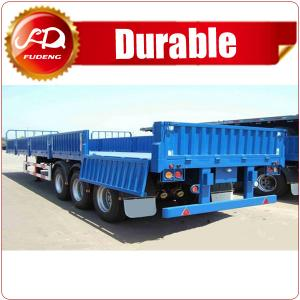 China 40ft 60 ton Tri-axle Semi Sidewall Flatbed Trailer , Flatbed Trailer with Side Wall detachable on sale