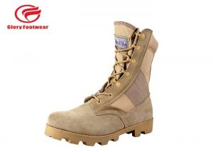 China 8 Inch High Heel Cow Suede Combat Boots Mens Sand Color With Cotton Fabric Lining on sale