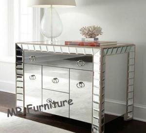 Quality Sophia Design Mirror Furniture Set 3 Drawers Glass Mirror Dresser Table for sale