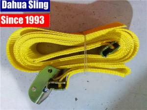 "Quality Yellow 2""X20' E Track Ratchet Tie Down Straps With Cam Buckle W- 4' Short End Assembled for sale"