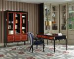 China Luxury Villa house office Furniture Ebony wood Book cabients and Reading desk in glossy painting with Writing chairs wholesale