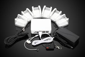 China COMER Acrylic display mobile stand with 6port alarm security protection on sale