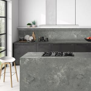 China Interior Home Design Materials Solid Surface Artificial 6 MM Grey Quartz Stone on sale