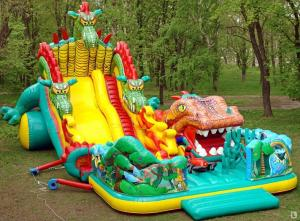 China Inflatable Fairground In Dragon Shape For Children Amusement Games on sale