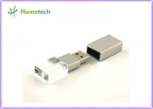 China 16GB Transparent Crystal Heart Shaped Usb Flash Drive With Led Light Inside yoru own logo engaved on sale