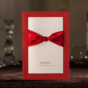 Red Embossed Ribbon Wedding Invitations 2015 Elegant Invitation Card ...