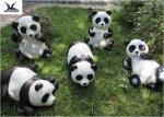 Outdoor High Simulation Panda Fiberglass Statues For Amusement Park Decoration
