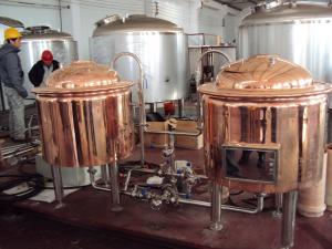 China Automatic Red Copper Brewing Equipment Small Scale Brewery For Pub Draft on sale
