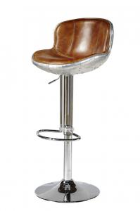 China Chromed Base Leather Counter Stools , Counter Height Swivel Bar Stools With Backs on sale