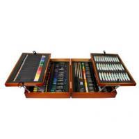 Wood Painting Box Set, 36 Acrylic Paint Color Tubes, 34 Color Pencils, 42 Felt Pens, 52 Ch