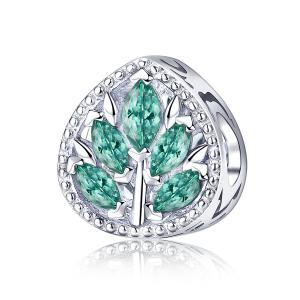 China Sterling Silver Necklace Pendant Charms With Tree Leaves Green CZ Charm on sale
