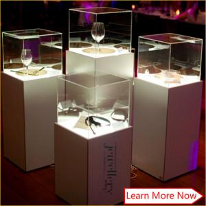 China Custom made fancy white color glass jewelry showcase with led lights on sale