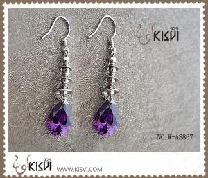 China Fashion design 925 sterling silver gemstone earrings with purple zircon W-AS867 on sale