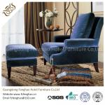 Comfortable Button - Tufted Wooden Velvet Chaise Lounge Chair With Ottoman