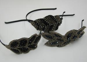 China Beads Leaf Structure Fabric Bow Hair Bands Baby Girl Hair Bands on sale